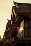 Sunset light and Chinese ancient building in Shangri-La, China Royalty Free Stock Photos
