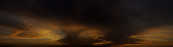 Sunset light with cloudy sky panorama view Royalty Free Stock Images