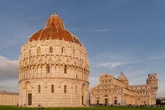 Sunset light on Field of miracles, Pisa, Tuscany, Italy royalty free stock photos