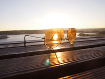 Sunset light with glasses lens Royalty Free Stock Image