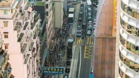 Sunset light hong kong traffic street rooftop down panorama 4k time lapse china stock footage