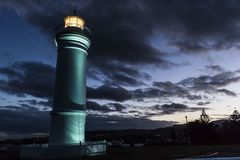 Sunset at a light house at Kiama point, Australia royalty free stock image