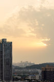 Sunset light irradiation on the rise. Royalty Free Stock Photography