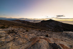 Sunset light on the Island of the Sun, Titicaca Lake, among the most scenic travel destination in Bolivia. Expansive panorama with Royalty Free Stock Image