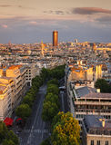 Sunset light on Montparnasse Tower, Avenue Marceau rooftops, Par Stock Image