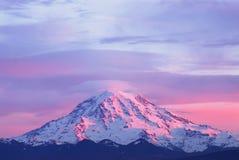 Sunset Light On Mount Rainier Royalty Free Stock Photos