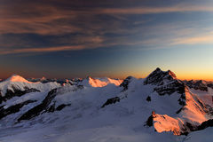 Sunset light over Jungfrau Peak Royalty Free Stock Photography