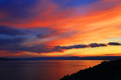 Sunset light over Lake Geneva, Switzerland, Europe Stock Photography