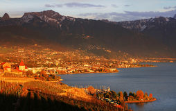Sunset light over Lake Geneva, Switzerland, Europe Royalty Free Stock Photos