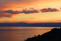 Sunset light over Lake Geneva, Switzerland, Europe Royalty Free Stock Image