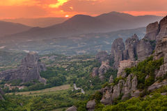 Sunset light over Meteora Monasteries, Greece Stock Photo