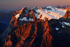 Sunset light over Wetterhorn Peak Stock Photo
