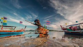 Sunset light phuket island low tide parking boats 4k time lapse thailand stock video
