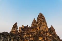 Sunset light shine on angkor wat in siem reap cambodia Stock Photos