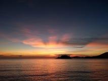 Sunset. Light silhouette sea Royalty Free Stock Photos