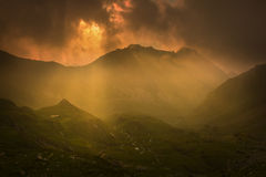 Sunset light on top of the mountain. On Transfagarasan Road Royalty Free Stock Images