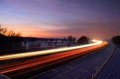 Sunset Light Trails. Sunset light trail of cars Royalty Free Stock Photo
