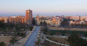 Sunset light valencia panorama 4k spain. Spain sunset light valencia city panorama 4k stock video