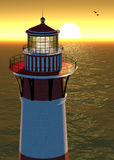 Sunset Lighthouse. Illustration of Lighthouse at Sunset with Ocean Background vector illustration