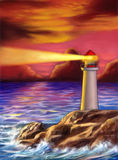 Sunset lighthouse Stock Photos