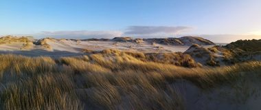 Dunescape in Amrum with lighthouse against sunset royalty free stock photos