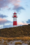 Sunset at Lighthouse List on Sylt Royalty Free Stock Photo