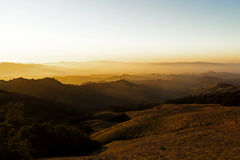 Sunset Lighting On Rolling Foothills From Mount Diablo Royalty Free Stock Photos