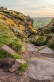 Sunset lights the heather and rocks at the Roaches royalty free stock image