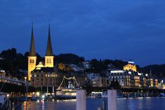 Evening on Lake Lucerne. Sunset and lights on Lake Lucerne, Switzerland Stock Photography