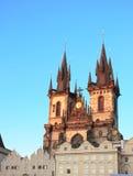 Sunset lights the side of Tyn Church, Prague Royalty Free Stock Image