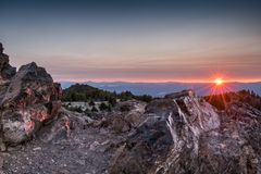 Sunset Lights Up Rocks on Paulina Peak. In Oregon royalty free stock images