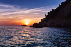 Sunset on the Liguria sea, La Spezia, Italy Stock Image