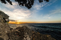 Sunset and limestone Stock Photo
