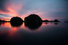 Sunset and Limestone Islands Royalty Free Stock Photo