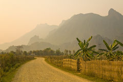 Sunset at limestone mountains of Vang Vieng, Laos Stock Photography