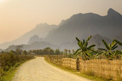 Sunset at limestone mountains of Vang Vieng, Laos Stock Image