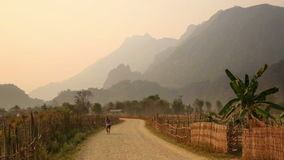 Sunset at limestone mountains of Vang Vieng,Laos. Day time stock footage