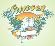Sunset line. Scenic tropical flowers, birds graphic design between the two Royalty Free Stock Image