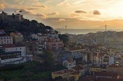 Sunset in Lisbon Stock Images