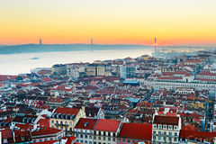 Sunset in Lisbon, Portugal Royalty Free Stock Photos