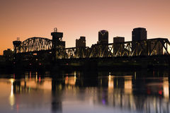 Sunset in Little Rock, Arkansas. Blurred barque in the foreground royalty free stock image