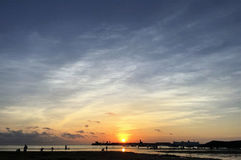 The Sunset on the Little Rocky Island Park in Weihai, Shandong Province, China stock images