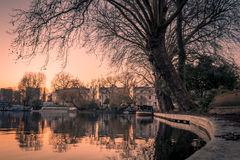 Sunset of Little Venice in Regent's Canal, London Royalty Free Stock Images