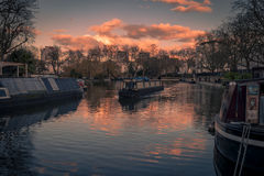 Sunset of Little Venice in Regent's Canal, London Stock Photos