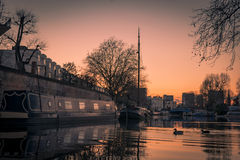 Sunset of Little Venice in Regent's Canal, London Royalty Free Stock Photos