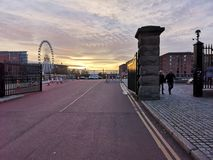 Sunset in Liverpool stock images