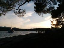 Sunset. Living the life on a beach on island Hvar stock photography