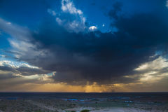 Sunset of loess plateau china stock photography