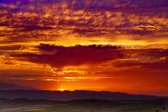Sunset on loess plateau china Stock Photo