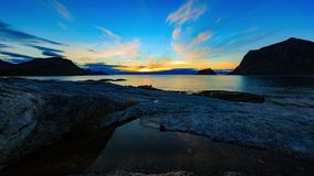 Sunset at Lofoten coast stock video footage